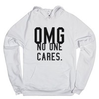 No One Cares.-Unisex White Hoodie