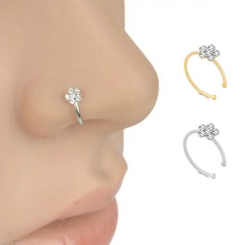 Small Thin 5 Clear Crystals Flower charm Nose Silver Hoop Stud Ring jewelry