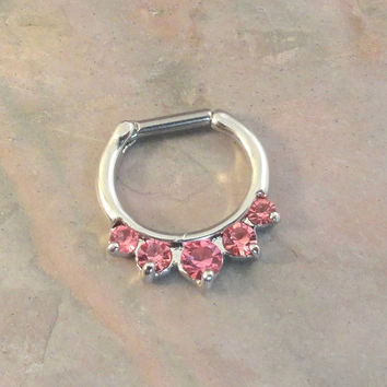 14 Gauge Pink Crystal Septum Ring Clicker Bull Ring Nose Piercing
