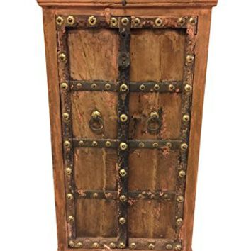 Antique India Armoire old world Brass Patina Floral Chakra Grooved Haveli Rustic Cabinet Furniture FarmHouse Interior style