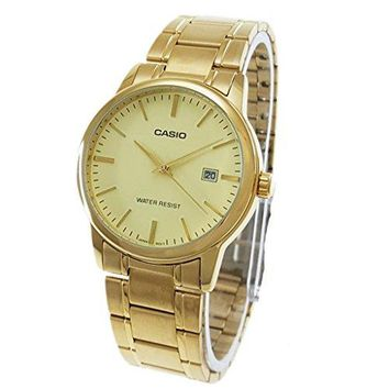 Casio #MTP-V002G-9A Men's Standard Analog Gold Tone Stainless Steel Date Watch