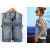 NEW Fashion Sexy Women lady Casual Sleeveless denim vest Button Down Jean Jacket Coat Blue