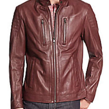 HUGO BOSS - BOSS Naquinn Leather Jacket - Saks Fifth Avenue Mobile