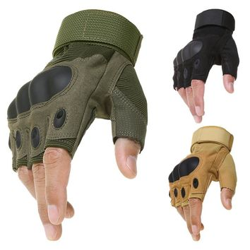 Tactical Army Military Carbon Hard Knuckle Half Finger Gloves