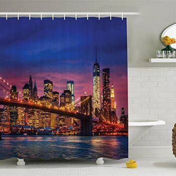 "Shower Curtain Reflections On Manhattan City Image Style Set & Hooks 70"" x 69"""