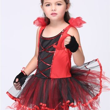 2016 Cute Cat Cosplay Costumes Halloween Stage Performance Child Costumes fantasia vestido Tutu dress Kids carnival party Outfit