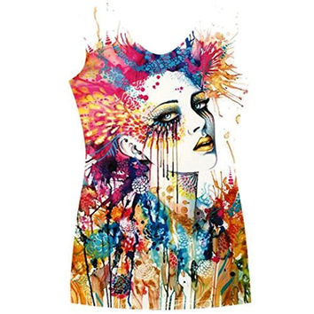 "Womens Modern Art Graffitti "" Women"" Dripping on a White Tank Top ( Runs Small)"