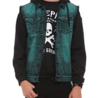RUDE Turquoise Cloud Wash Hooded Denim Vest