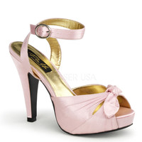 Pinup Couture Bettie Pink Satin Platforms