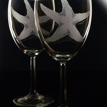 Starfish wine glass set beach gift hostess