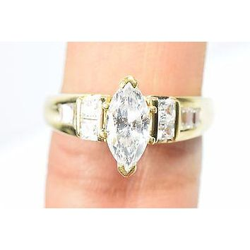 14k Engagement Ring Gold 2 ct D-VVS1 Clear Crystals Size 9 Solitaire w/ Accents