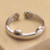 Lovely Cat Ring Paw Pattern Open Adjustable Ring + Gift Box