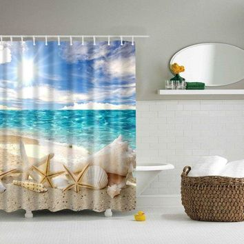 3D Beach Shell Bathroom Waterproof Shower Curtain