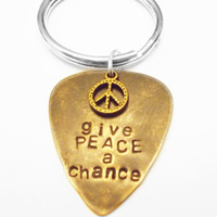 Personalized Guitar Pick Keychain, Give Peace a Chance, Stamped Brass, The Beatles, John Lennon, Valentines Day, Fathers Day