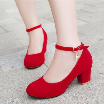 spring red size 31 32 33 small round toe medium heeled shoes banding bandage 41 42 43