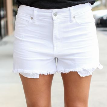 Weekend Calls White Distressed Shorts