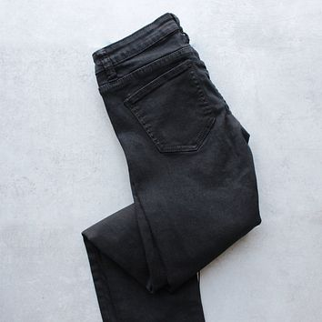 ava low rise skinny jeans - black