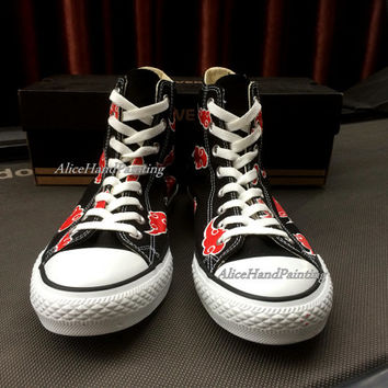 Custom Akatsuki Converse Red Cloud Converse Hand Painted Shoes Custom Anime Converse,Red Cloud Shoes,Custom Christmas Gifts Birthday Gifts