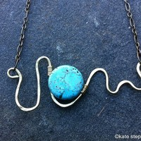 Turquoise Moon Wave Pendant from Kate Stephen Jewelry