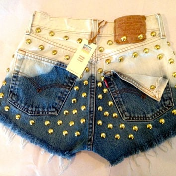 High waist Levi's 501 destroyed blue ombre denim shorts super frayed and studs size Med/Lg