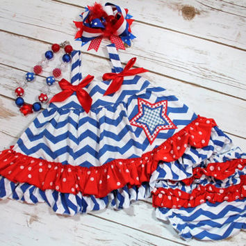 4th of July Chevron Baby Girl Outfit - First 4th of July - Blue Chevron - Swing Top Set - Photo Prop - Bloomers - Necklace/Bow SOLD SEPARATE