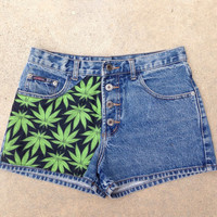 RARE Vtg Maryjane weed lead 90s grunge 4 button high waist shorts
