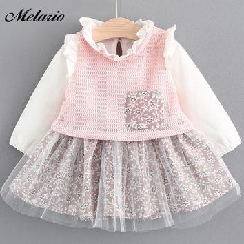 Melario Baby Dresses 2017 New Spring Autumn Baby Girls Clothes Floral Printing Girls Party Dress Princess Dress Newborn Dress