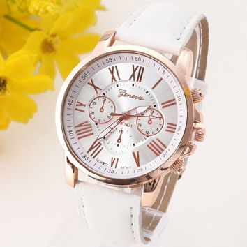 NEW Geneva Platinum Watch Women PU Leather wristwatch casual dress watch reloj ladies relogio gift Analog Quartz Fashion Roman [8425317511]