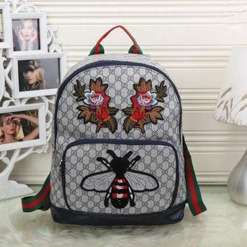 ICIK6HW Gucci' Women Casual Personality Fashion Classic Print Bee Flower Embroidery Backpack Large Capacity Travel Double Shoulder Bag