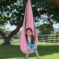 HearthSong HugglePod Hanging Chair, in Pink