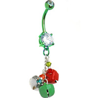 Handcrafted Holiday Jingle Bells Belly Ring | Body Candy Body Jewelry