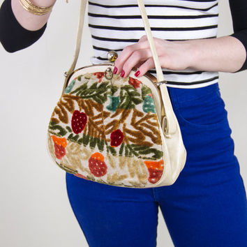 vintage 60s strawberry floral tapestry bag / antique embroidered handbag / 1960s mod carpet purse