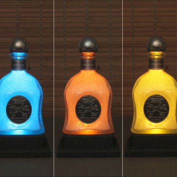 Casa Noble Crystal Tequila Bourbon Whiskey Bottle Lamp Color Changing Remote Controlled LED Bar Light -Bodacious Bottles-