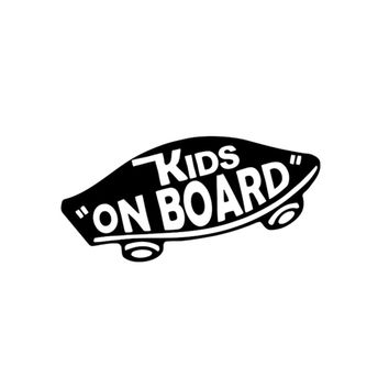 19*8cm INTERNAL Kids On Board Baby on Board Car Stickers Warning Viny Decals Funny for Car Body Motorcycle Window Black/Sliver