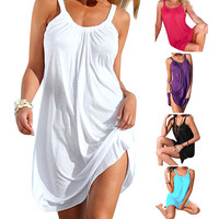 High Quality Women Sexy Summer Sleeveless Evening Party Beach Dress Short Mini Dress Cover-Ups Beachwear Swimwear