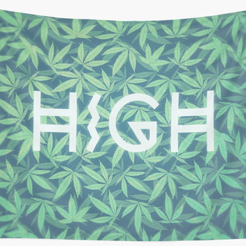 'HIGH TYPO! Cannabis / Hemp / 420 / Marijuana - Pattern' Wandbehang by badbugs