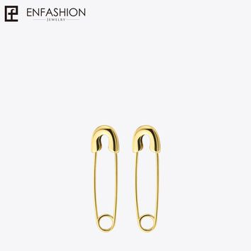 Fashion Safety Pin Long Earrings Rose Gold color Earings Stainless Steel Dangle Earrings For Women Jewelry Orecchini Brinco