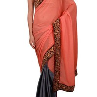 Peach And Grey Georgette Half & Half Saree