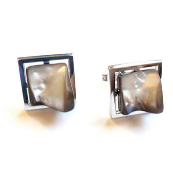 Vintage Tahitian Pearl Cuff Links - Sarah Coventry - 1969 Lord Coventry - Geometric Square - Silver Metal - Suit Tie - Groom Gift - For Him