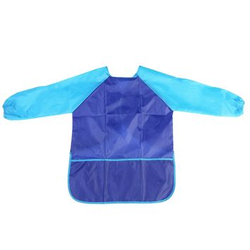 Children Kids Waterproof Long-sleeved Art Smock Painting Apron (Blue)