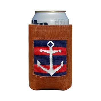 Striped Anchor Needlepoint Can Cooler in Dark Navy & Red by Smathers & Branson