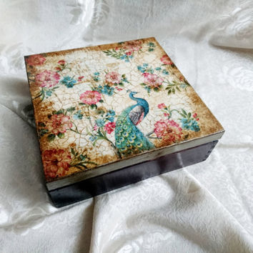 READY TO SHIP Retro style tea box with flowers peacock 9 compartments elegant gift idea for her patinated crackle