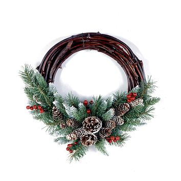 16 in. Christmas Holiday Frosted Berry Grapevine Unlit Wreath