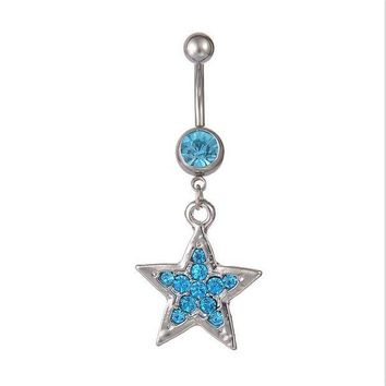 ac ICIKO2Q Cute Star Dangle Belly Button Rings Sexy Crystal Double Piercing Barbell Surgical Steel Navel Piercing Fashion Body Jewelry Gift