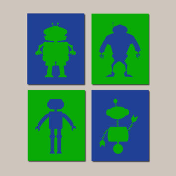 Robot Nursery Art, Royal Green Nursery Decor, Robot Art Prints, Boy Nursery Decor, Robot Wall Art, Robot Bathroom Set of 4 Prints Or Canvas