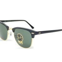 New Ray Ban Clubmaster RB3016 W0365 Ebony/Arista/G-15 XLT 51mm Sunglasses