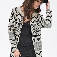 FOREVER 21 Tribal-Inspired Open-Front Cardigan Black/Taupe