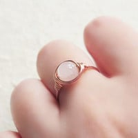 Rose Quartz ring - unique ring - wire wrapped ring - bohemian jewelry