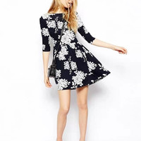 Winter Round-neck Print Corset Dress One Piece Dress [6045383233]