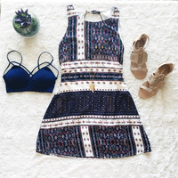 A Tassel Back Dress in Navy Print